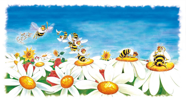 Illustration Blüten und Bienen