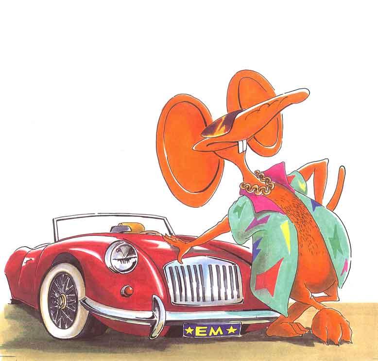 Illustration Maus mit Auto