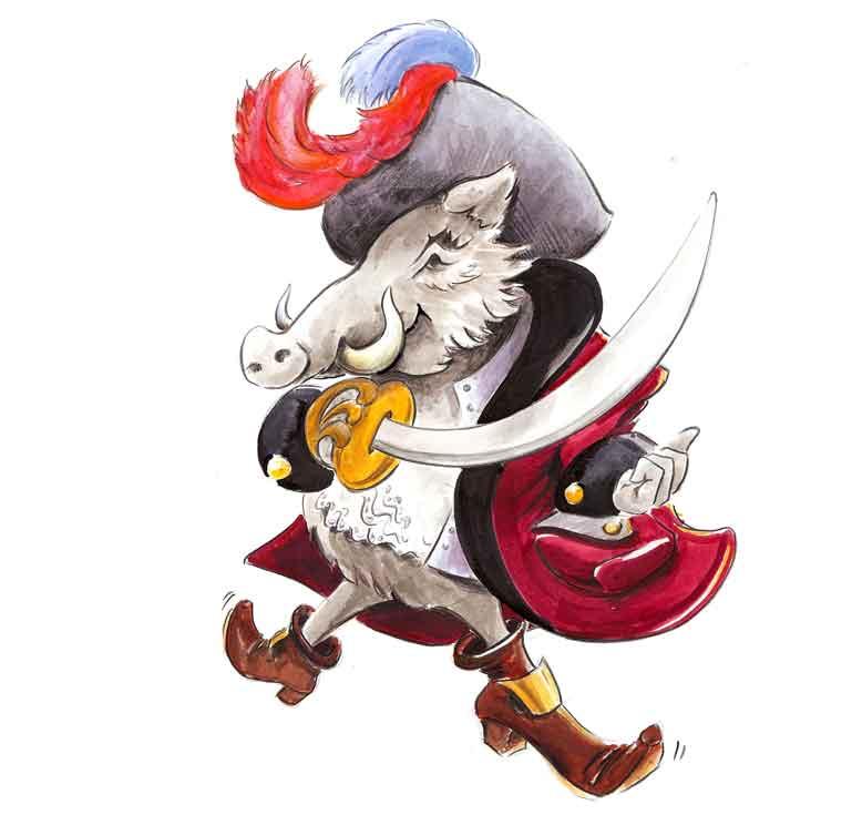 Illustration Piraten-Wildschwein